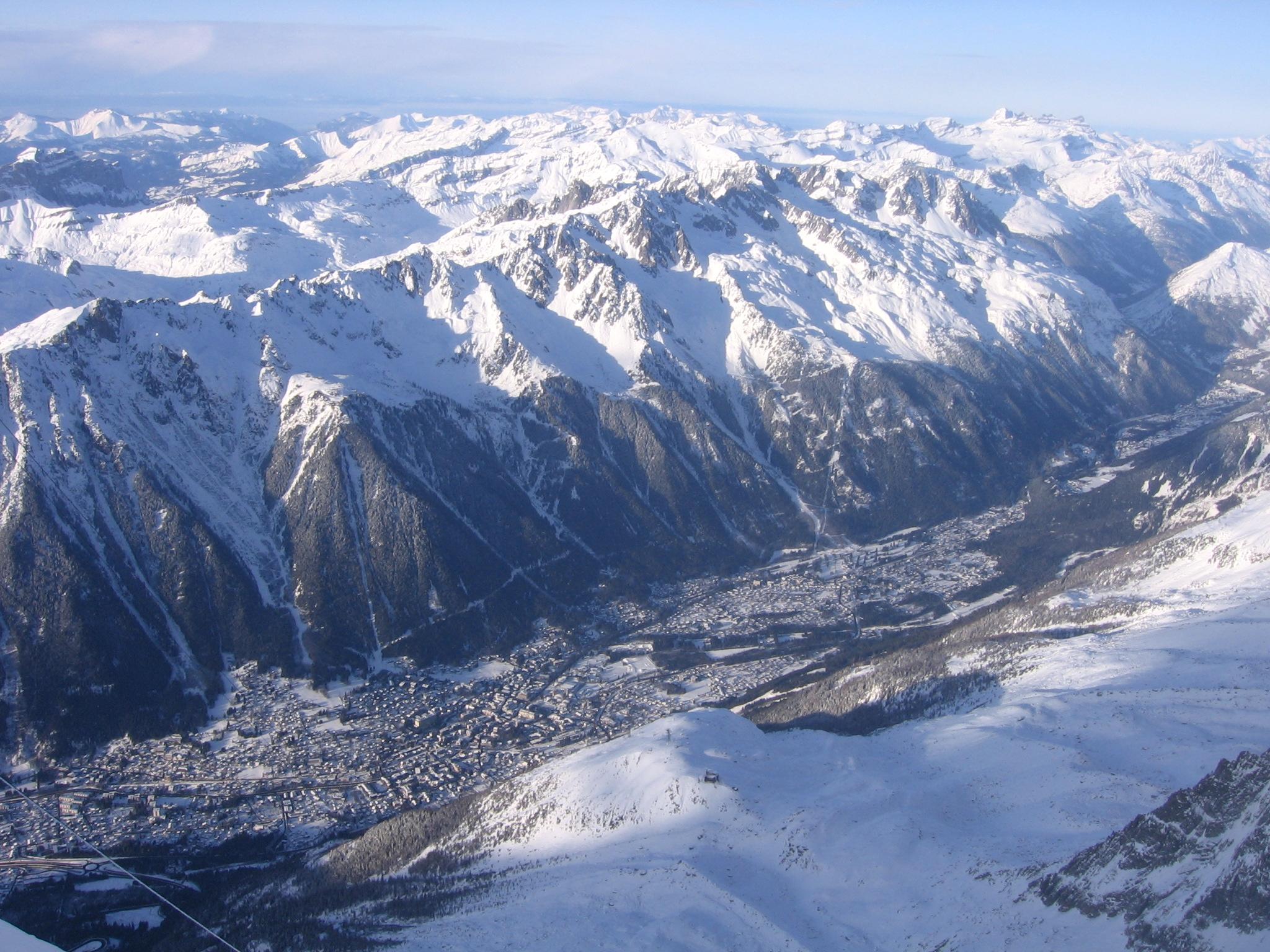 Chamonix valley from the Aiguille de Midi