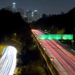 Pasadena Freeway from Elysian Park looking south towards downtown Los Angeles, California.