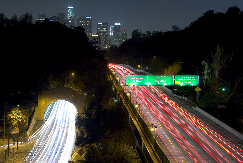 Pasadena Freeway from Elysian Park looking south towards downtown Los Angeles, California.