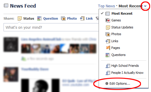 edit options in facebook newsfeed setting
