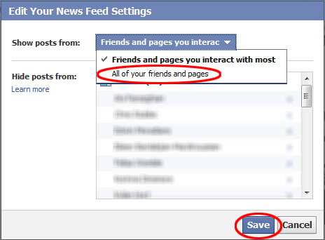 "click on ""show all of your friends and pages"" in facebook settings"