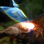 magnifying glass burning leaf