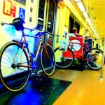 My fixed gear bicycle adorned with blue lights, making use of the Red Line subway to go from the San Fernando Valley to Hollywood.