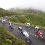 The pack rides on the mountain during the ninth stage of the TdF 2011 from Issoire to Saint-Flour on July 10, 2011. Photo by Stefano Rellandini