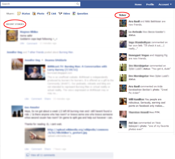 Facebook updates newsfeed design, adds Ticker and ability to