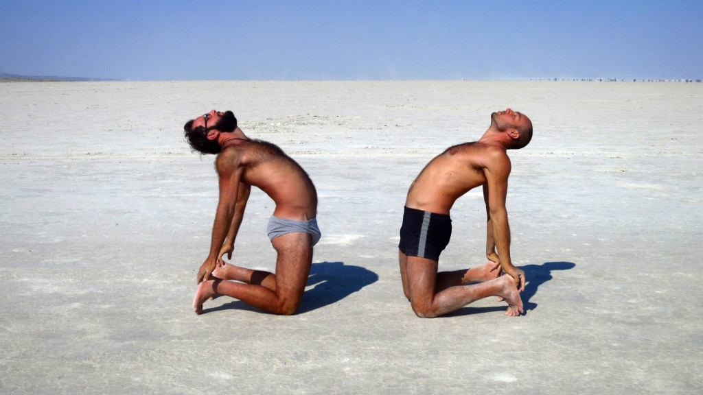"Here is a photo of my brother and I doing ""Camel Pose"" while in exodus. We absolutely cherish yoga and find it is soothing for the mind and body. It's no coincidence there were tons of yoga classes at the burn... the good news is, there's plenty of yoga studios in your own town! Even donation based ones in parks if you look hard enough! And nowadays, with YouTube around, you can even do it at home!"