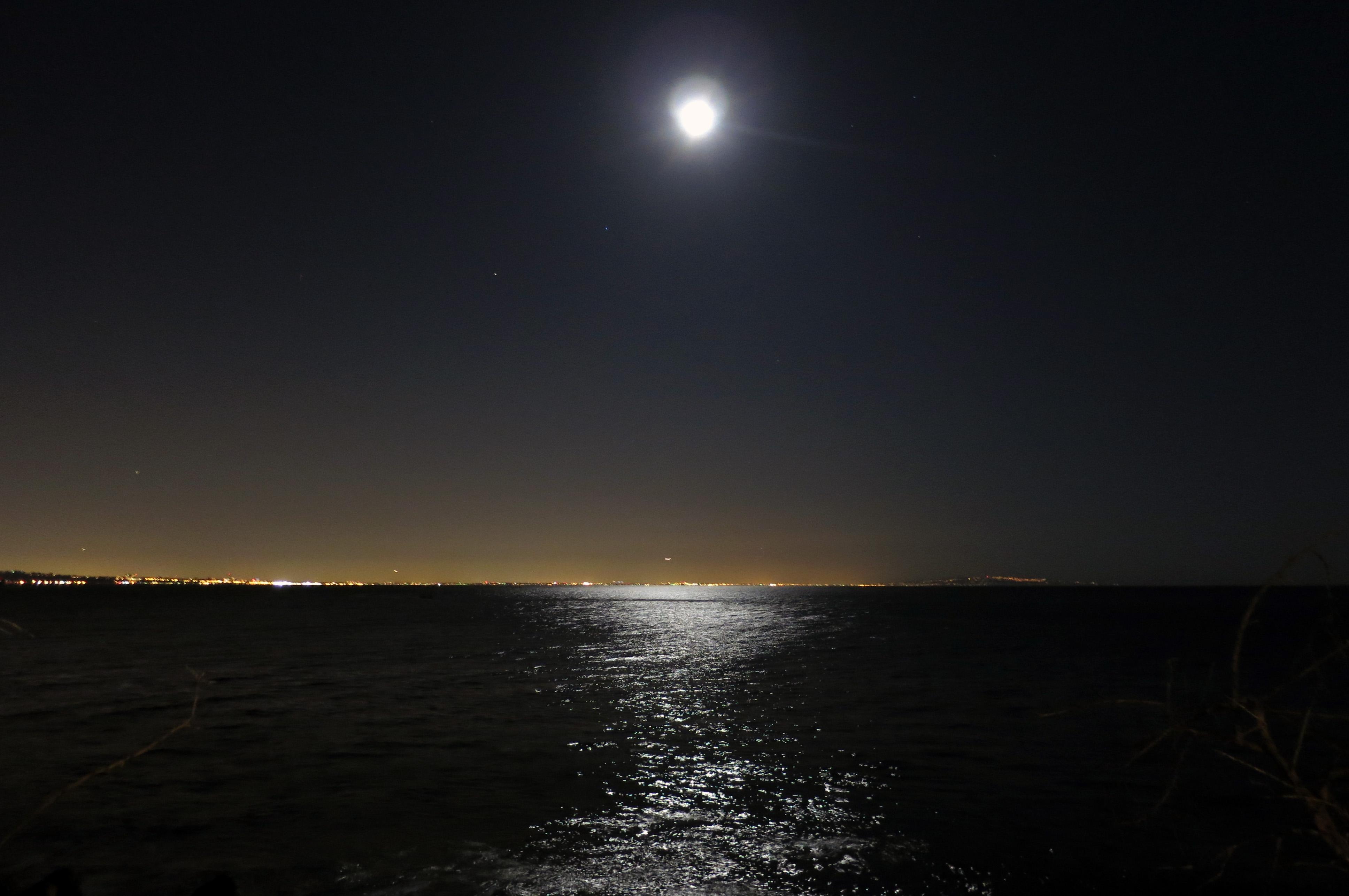 The La Coastline Under A Full Moon From A Restaurant In Malibu