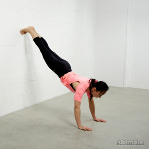If you can't hold a stomach-to-wall handstand, then you could take it one notch lower by bringing your feet lower to practice an inclined wall plank.