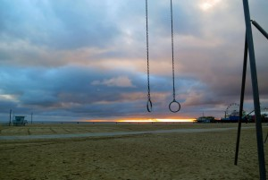 The day after a cold storm makes for a very peaceful and beautiful sunset at Old Muscle Beach, Santa Monica, CA