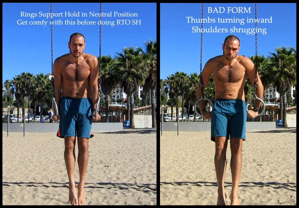 Neutral meaning, the hands are parallel to each other just like they were with the parallel bar. The instability will be insane initially. Stick the hands to your hips to help you stay up there. Work in sets to get 60secs of practice in until you could hold it for 1 minute nonstop.