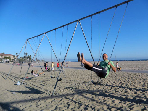 If your park has swings, why not use them? They're not fun only for kids, you know?
