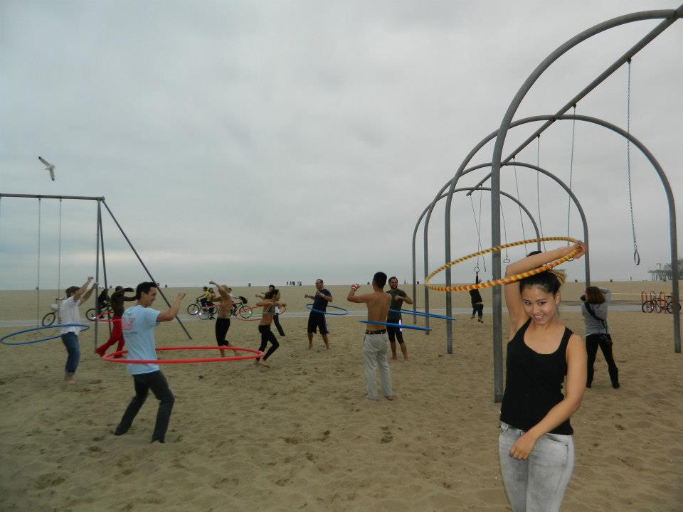 """Why not HOOP? (Photo capturing one of the very fun """"flow parties"""" I threw back in 2012 at old muscle beach.)"""