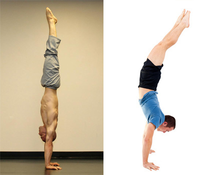 straight/hollow handstand versus arched