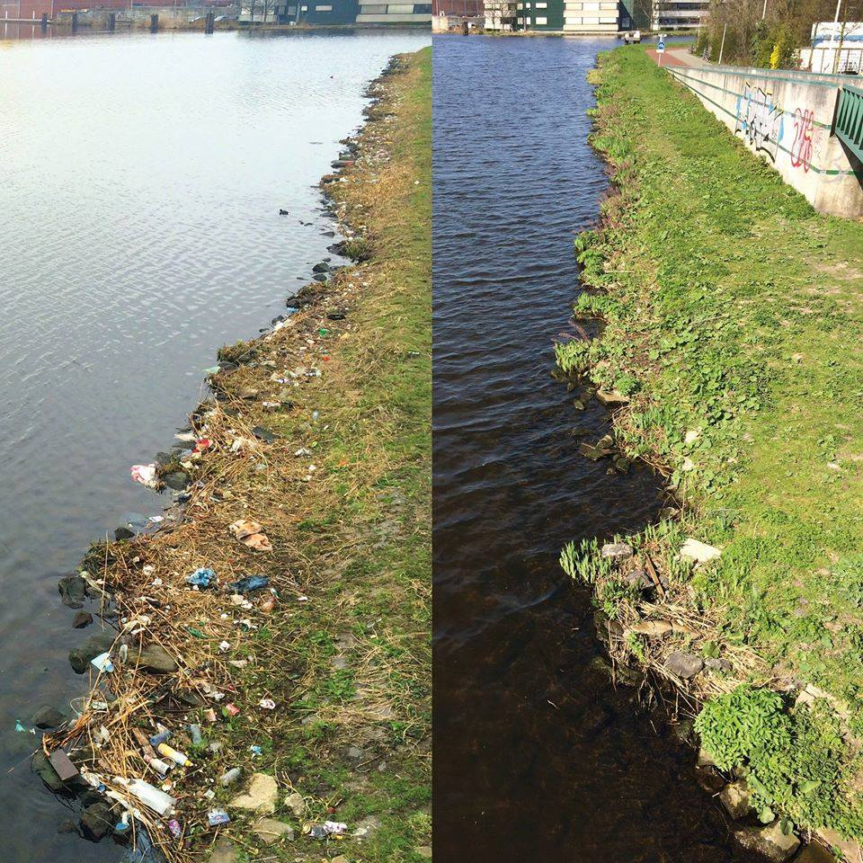 trash clean up along river bank