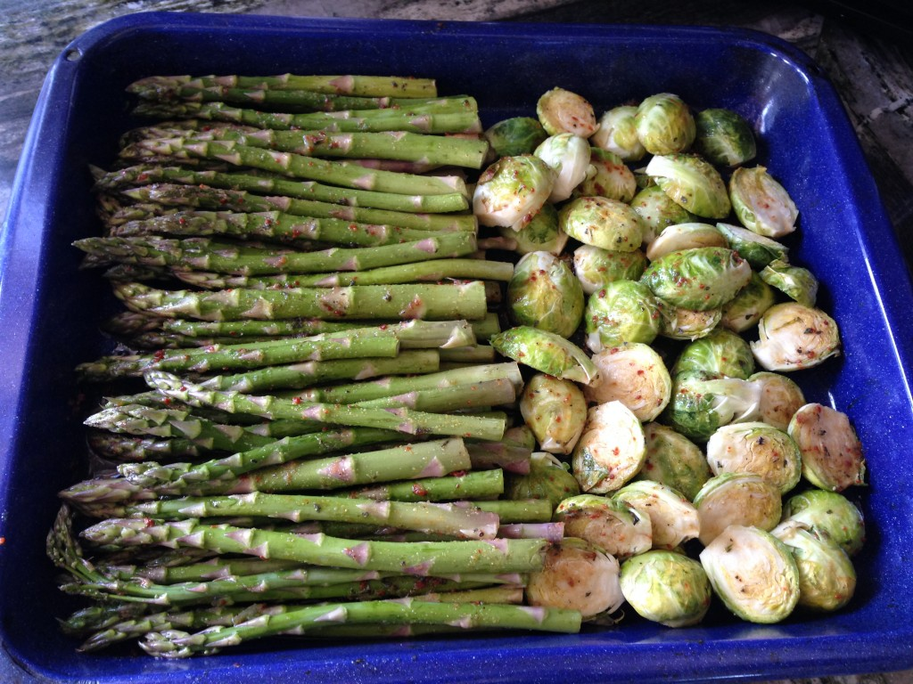 asparagus and brussels sprouts