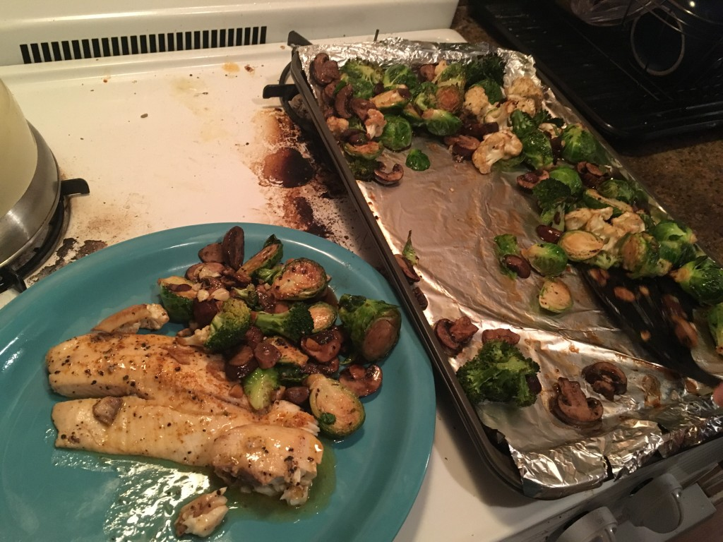 It's ridiculously easy to bake some fish and veggies.